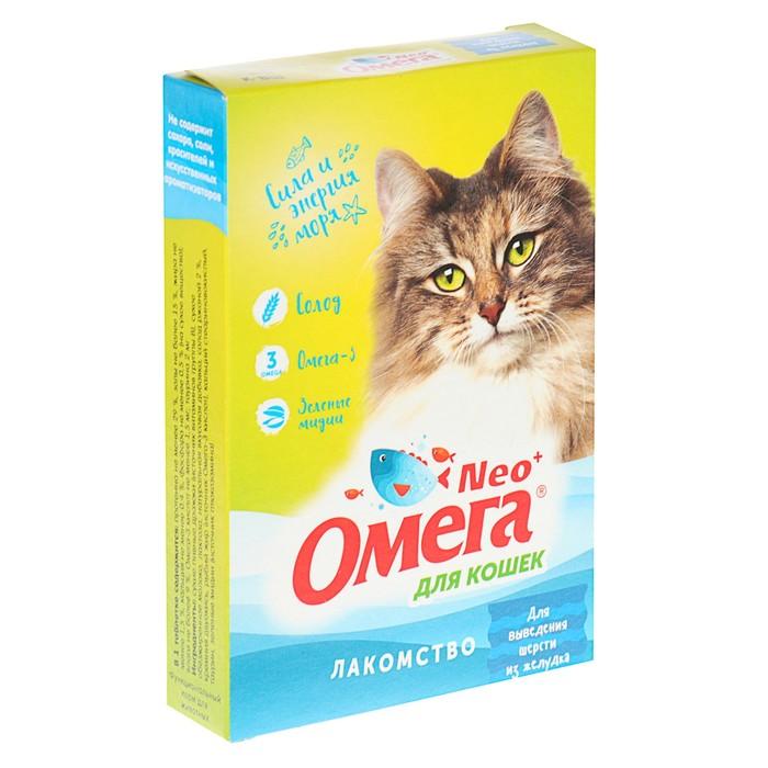 """Лакомство Омега Nео+ """"Для выведения шерсти из желудка"""" для кошек, с ржаным солодом, 90 табл"""
