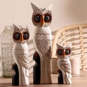 """Gift set wood """"Family of owls"""" 10х11х50 cm"""