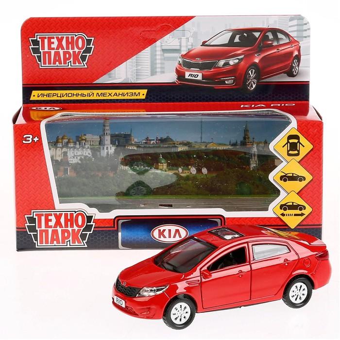 Машина металлическая Kia Rio, 12 см, открываются двери, инерционная, цвет красный - фото 105652076