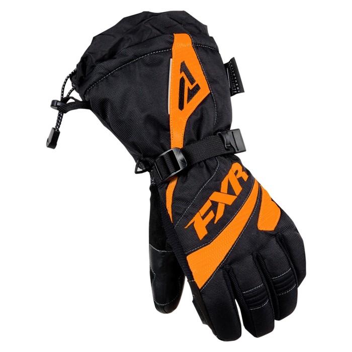 Перчатки FXR Fusion с утеплителем, чёрный, оранжевый, S