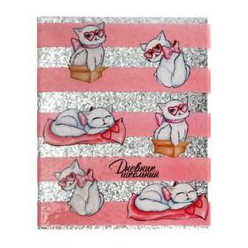 Дневник универсальный для 1-11 классов «Белая кошечка», интегральная обложка, прозрачный ПВХ, блёстки, 48 листов
