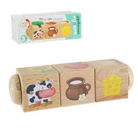 Кубики деревянные на оси «Что за чем следует?»