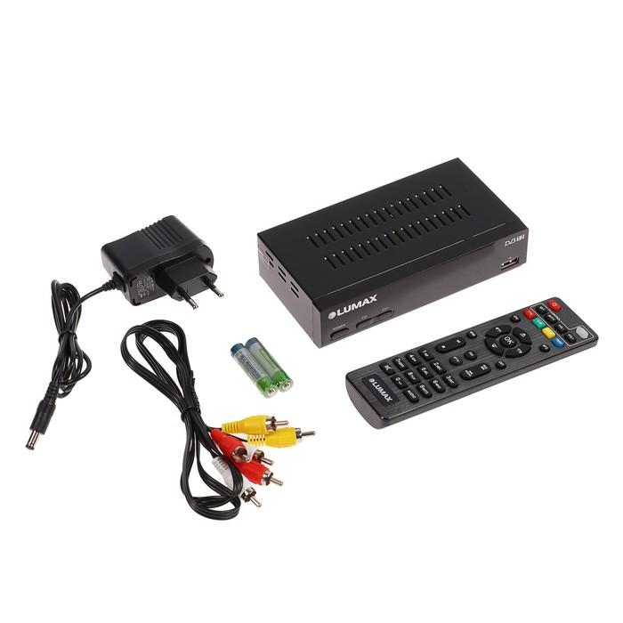 Приставка для цифрового ТВ Lumax DV3215HD, FullHD, DVB-T2/C, дисплей, HDMI, RCA, USB, черная