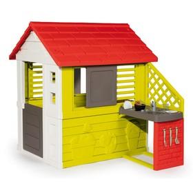 Игровой домик с кухней, цвет красный