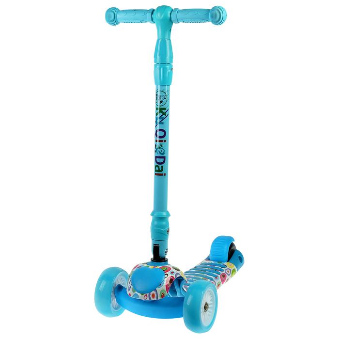 Самокат стальной, колёса световые PU d=11/4 см, ABEC 7, складной до 60 кг, цвет голубой