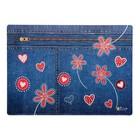 """Накладка на стол дизайн 337*242 КН 4-1 дев """"Сердечки на джинсе"""""""