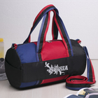 Сумка спортивная, отдел на молнии, наружный карман, длинный ремень, цвет чёрный/красный/синий