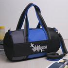 Сумка спортивная, отдел на молнии, наружный карман, длинный ремень, цвет чёрный/серый/синий