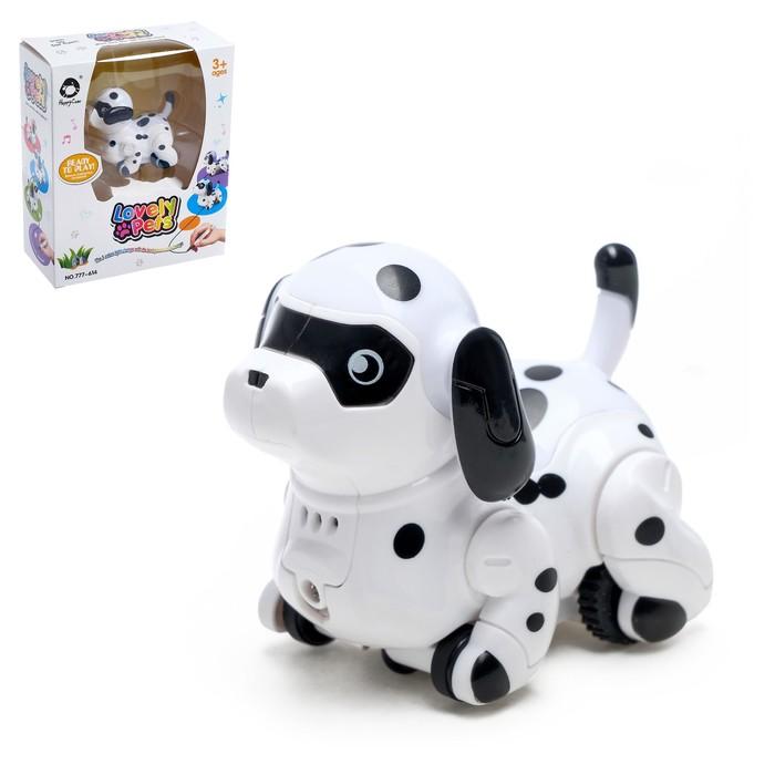 Робот-собака «Далматинец», световые и звуковые эффекты, работает от батареек, ездит по линии, цвета МИКС