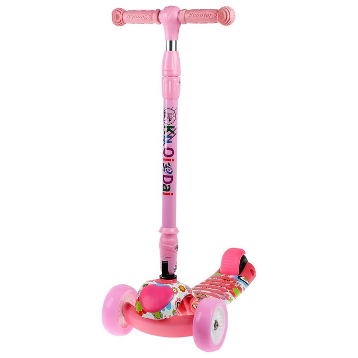 Самокат складной, колёса световые PU d=11/4 см, ABEC 7, складной до 60 кг, цвет розовый
