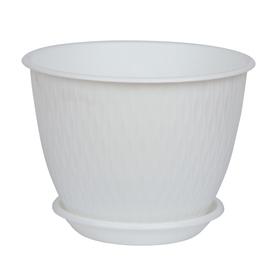 Пластиковый горшок с поддоном «Рэйн», 1,8 л, цвет белый