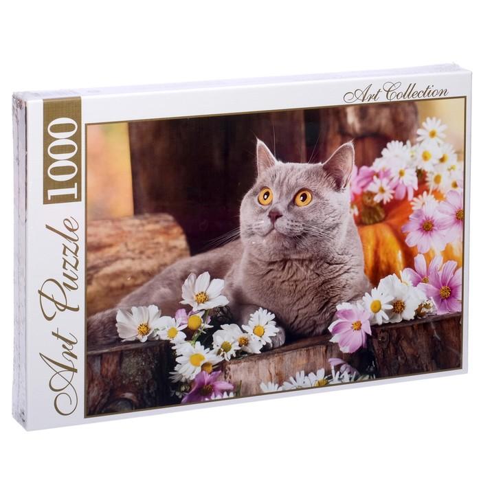 Пазл «Британский кот в цветах», 1000 элементов