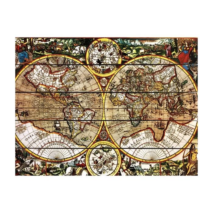 """Картина для бани """"Карта мира"""", МАССИВ, 40×30 см"""