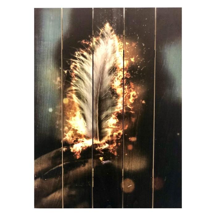 """Картина для бани """"Горящее перо"""", МАССИВ, 40×30 см"""