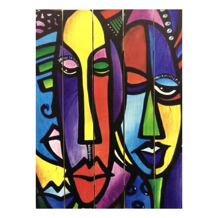 """Картина для бани """"Африканские лица"""", МАССИВ, 40×30 см"""