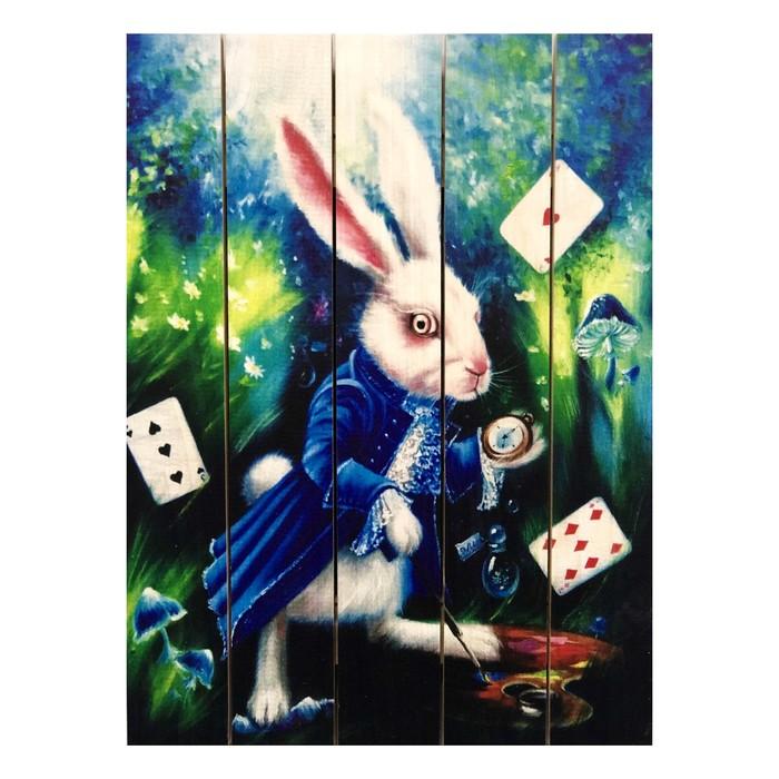 """Картина для бани """"Алиса в Стране чудес"""", МАССИВ, 40×30 см"""