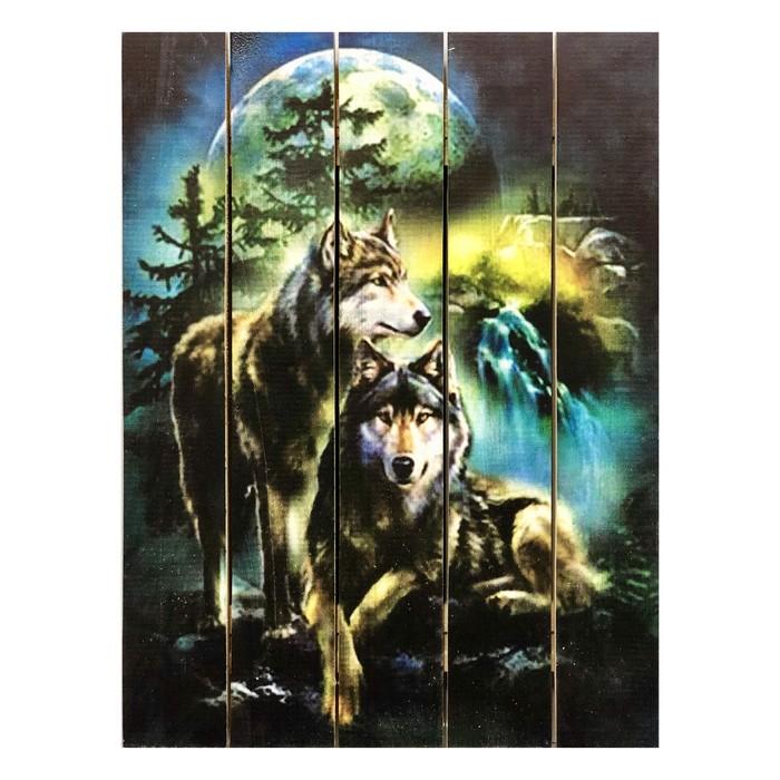 """Картина для бани """"Волк и волчица"""", МАССИВ, 40×30 см"""