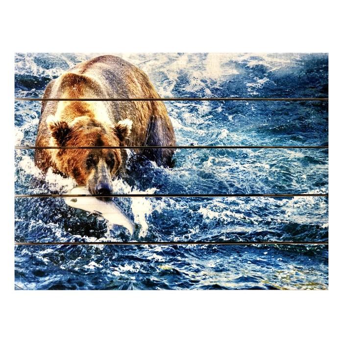 """Картина для бани """"Медведь в буйной реке"""", МАССИВ, 40×30 см"""