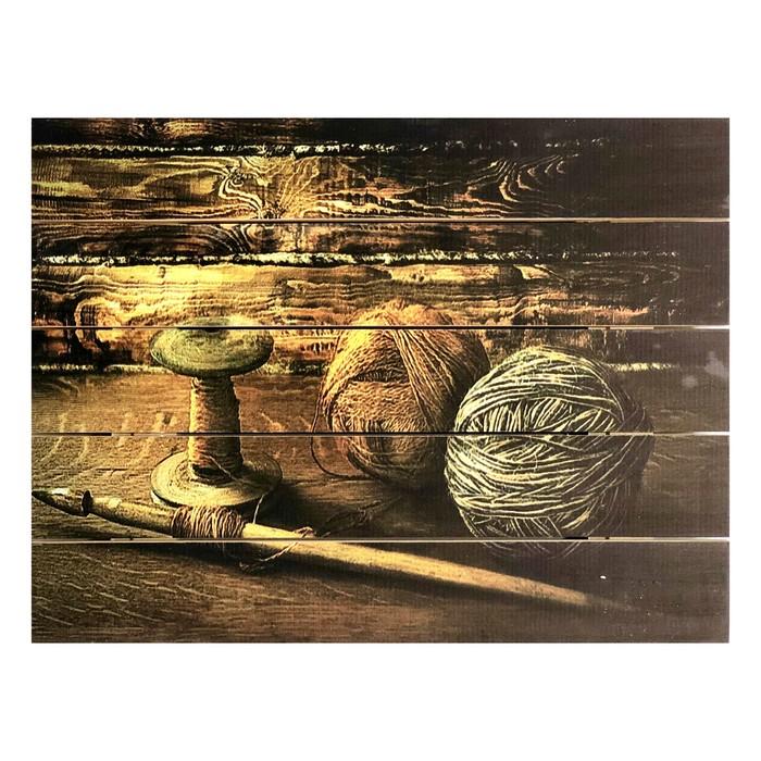 """Картина для бани """"Старинный ткацкий набор"""", МАССИВ, 40×30 см"""