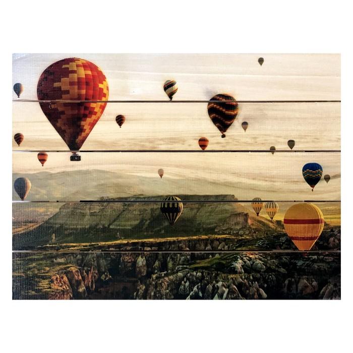 """Картина для бани """"Воздушные шары в небе"""", МАССИВ, 40×30 см"""