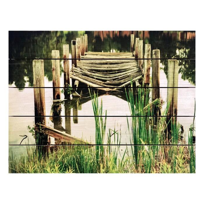 """Картина для бани, тематика природа """"Старая пристань"""", МАССИВ, 40×30 см"""