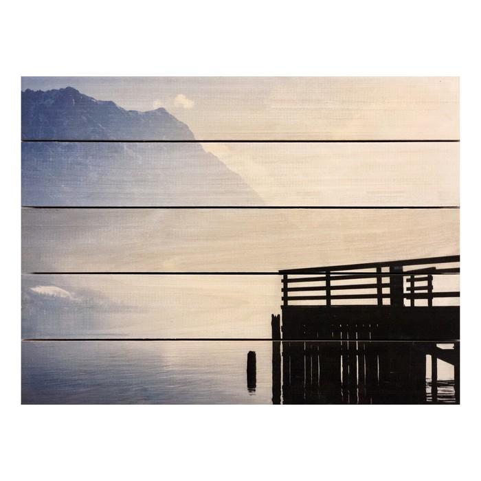 "Картина для бани, тематика природа ""Пристань на озере"", МАССИВ, 40×30 см"
