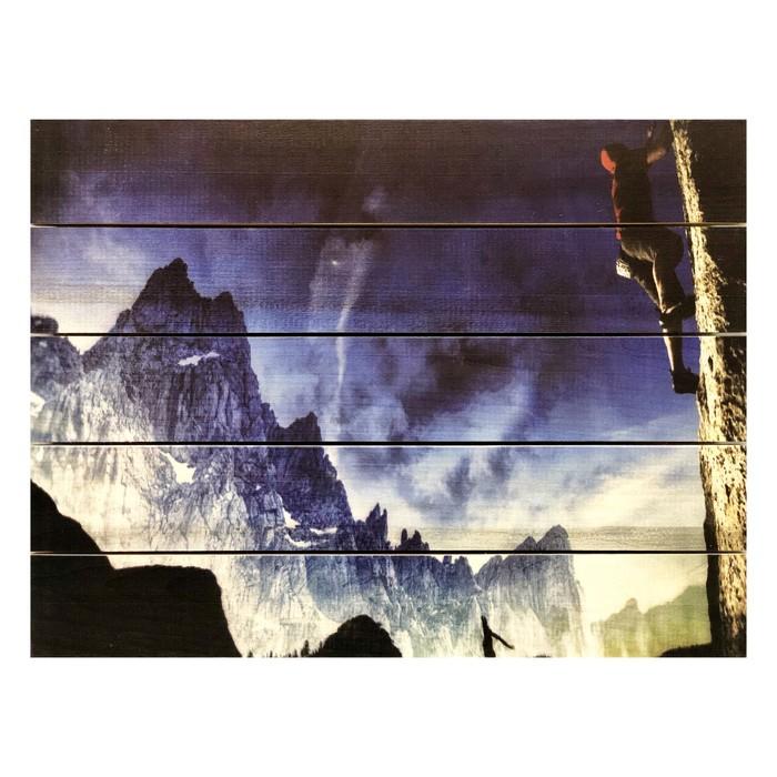 """Картина для бани, горный пейзаж """"Скалолаз"""", МАССИВ, 40×30 см"""