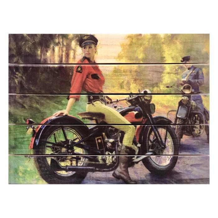 "Картина для бани, тематика ретро ""Девушка полицейский"", МАССИВ, 40×30 см"