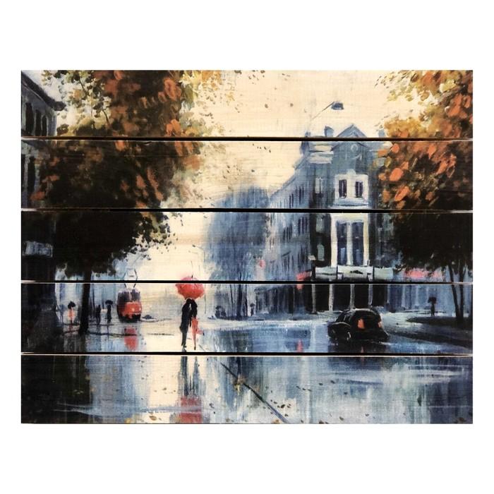 """Картина для бани, тематика живопись """"Дождливый день"""", МАССИВ, 40×30 см"""