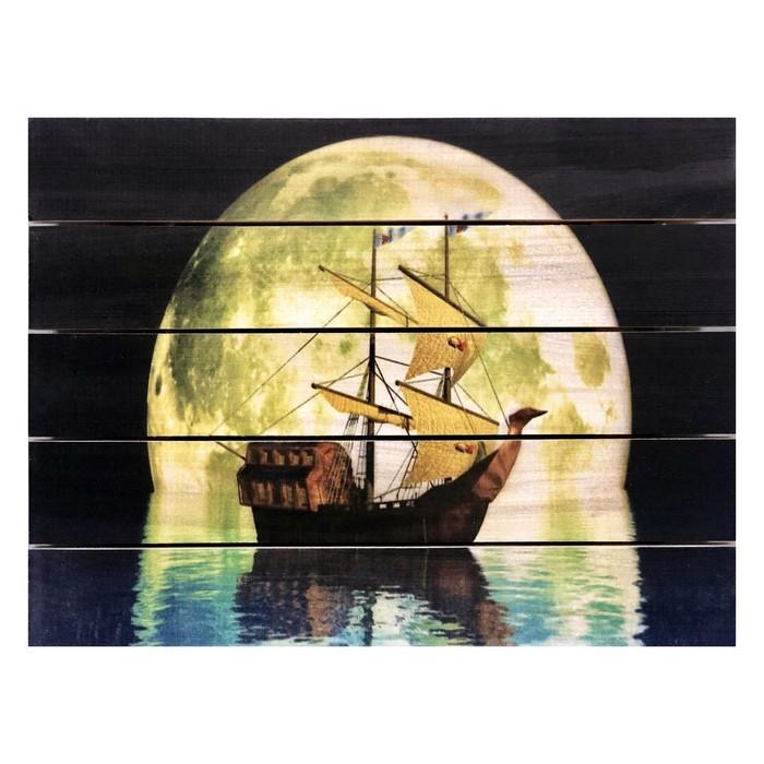 """Картина для бани """"Парусник в ночи"""", МАССИВ, 40×30 см"""