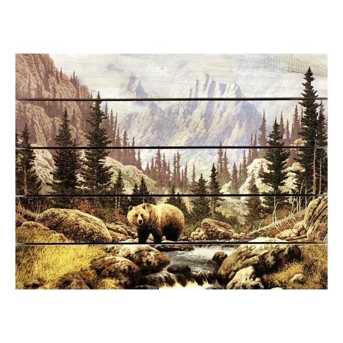 """Картина для бани, тематика природа """"Медведь на ручье"""", МАССИВ, 40×30 см"""