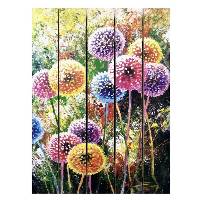 """Картина для бани, тематика цветы """"Разноцветные одуванчики"""", МАССИВ, 40×30 см"""