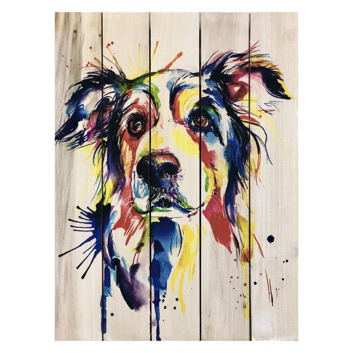 """Картина для бани, тематика животные """"Арт собака"""", МАССИВ, 40×30 см"""