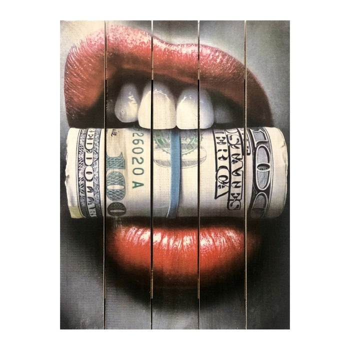 """Картина для бани, тематика люди """"Губы и купюры"""", МАССИВ, 40×30 см"""