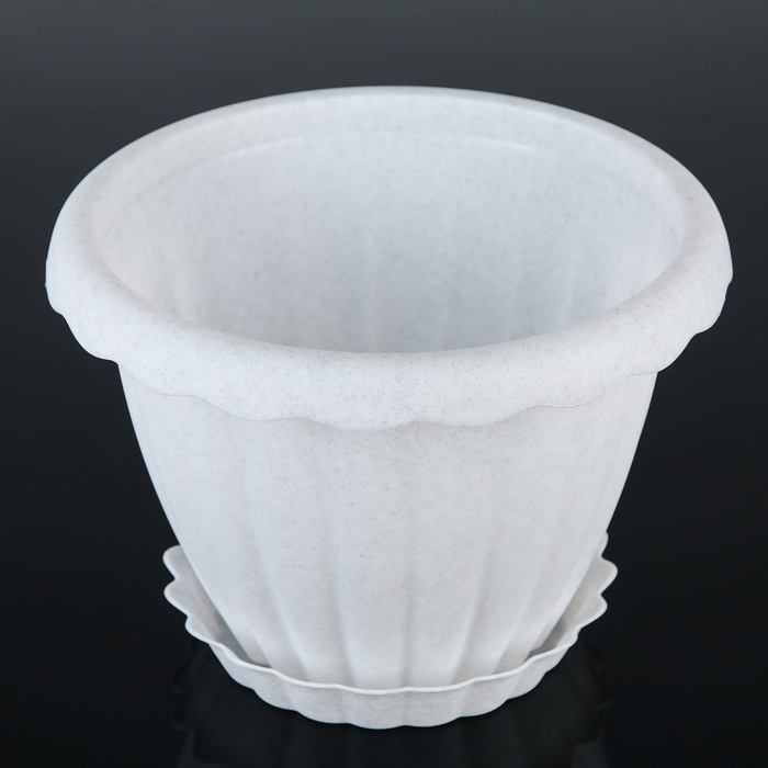 Кашпо с поддоном 3,5 л Dalia, 22 см, цвет мрамор