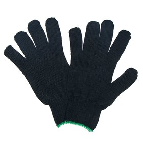 Gloves, cotton, knit 7 class 5 threads, size 9, black, black