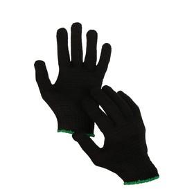 Перчатки, х/б, вязка 7 класс, 5 нитей, размер 9, без покрытия, чёрные Ош