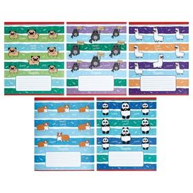 Тетрадь 12 листов в клетку Happy Animals, обложка мелованный картон, тиснение, блок офсет, МИКС