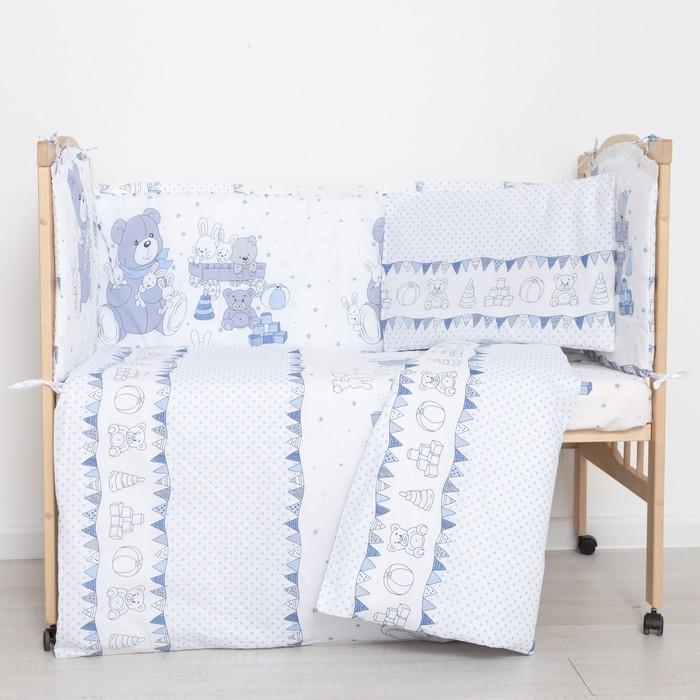 """Комплект в кроватку (6 предметов) """"Мишки и зайки"""", цвет голубой, бязь, хл100% - фото 105559790"""