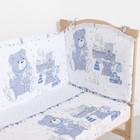 """Комплект в кроватку (6 предметов) """"Мишки и зайки"""", цвет голубой, бязь, хл100% - фото 105559792"""