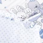 """Комплект в кроватку (6 предметов) """"Мишки и зайки"""", цвет голубой, бязь, хл100% - фото 105559794"""