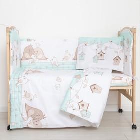 """Комплект в кроватку (6 предметов) """"Любящие птенчики"""", цвет мята, бязь, хл100%"""