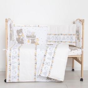 """Комплект в кроватку (6 предметов) """"Мишки и зайки"""", цвет бежевый, бязь, хл100%"""