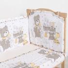 """Комплект в кроватку (6 предметов) """"Мишки и зайки"""", цвет бежевый, бязь, хл100% - фото 105559895"""