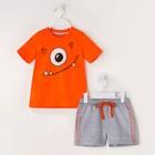 """Комплект: футболка и шорты KAFTAN """"Монстр"""" р.28 (86-92), оранжевый, серый - фото 105468645"""