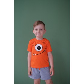 """Комплект: футболка и шорты KAFTAN """"Монстр"""" р.28 (86-92), оранжевый, серый"""