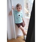"""Комплект: футболка и шорты KAFTAN """"Монстр"""" р.32 (110-116), голубой, коричневый - фото 105468706"""