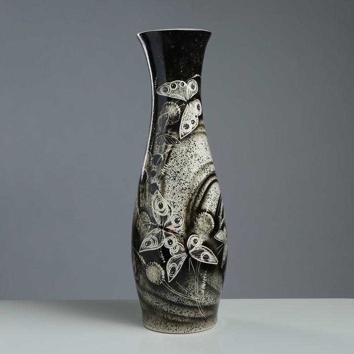 "Ваза напольная ""Нора"", бабочки, цвет серый, 69 см - фото 726510332"