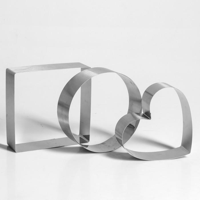 "Набор форм для выпечки и выкладки ""Круг, квадрат, сердце"", 15 х 15 х 5 см, 3 шт."