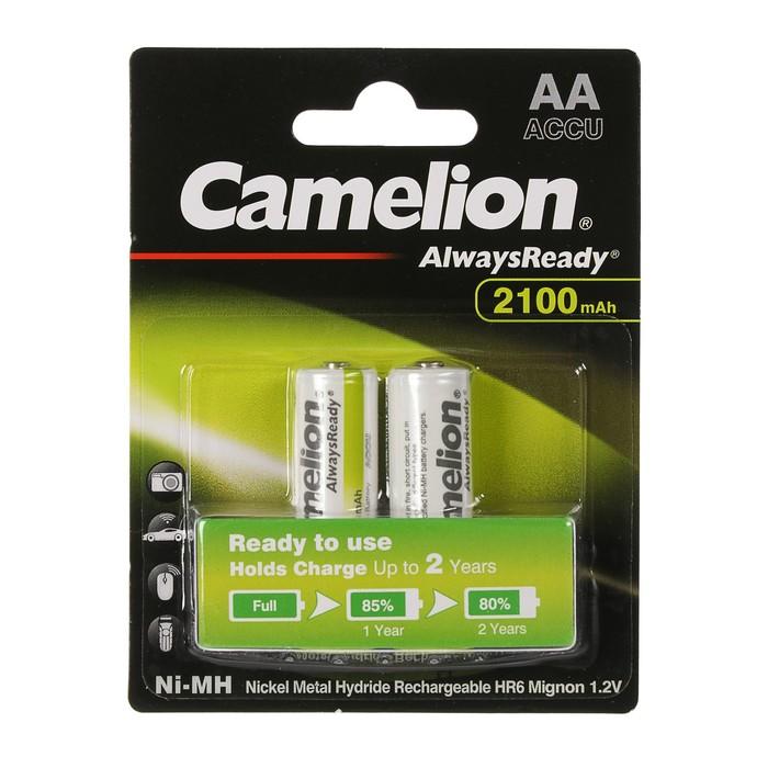 Аккумулятор Camelion Always Ready, Ni-Mh, AA, HR6-2BL, 1.2В, 2100 мАч, блистер, 2 шт.